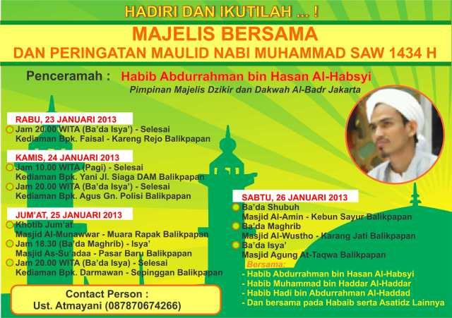 Jadwal Habib Abdurrahman di Balikpapan